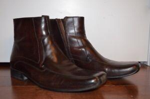 Aldo men's brown leather boots, side zipper, like new, sz 45