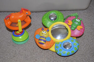 free crib or car mirror and song toy and suction cup toy