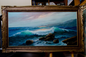 Seascape painting, oil on canvas
