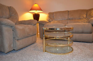 Loveseat, rocker recliner, coffee table, 2 end tables, 2 lamps