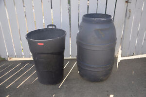 Rain Barrel and Garbage Can
