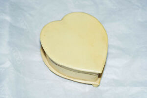 Vintage Heart Shaped Trinket Box of French Ivory