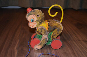 Vintage 1957 Fisher Price Chatter Monkey Pull Toy - Rare