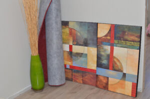2 canvas prints, rug, vase and throw pillows