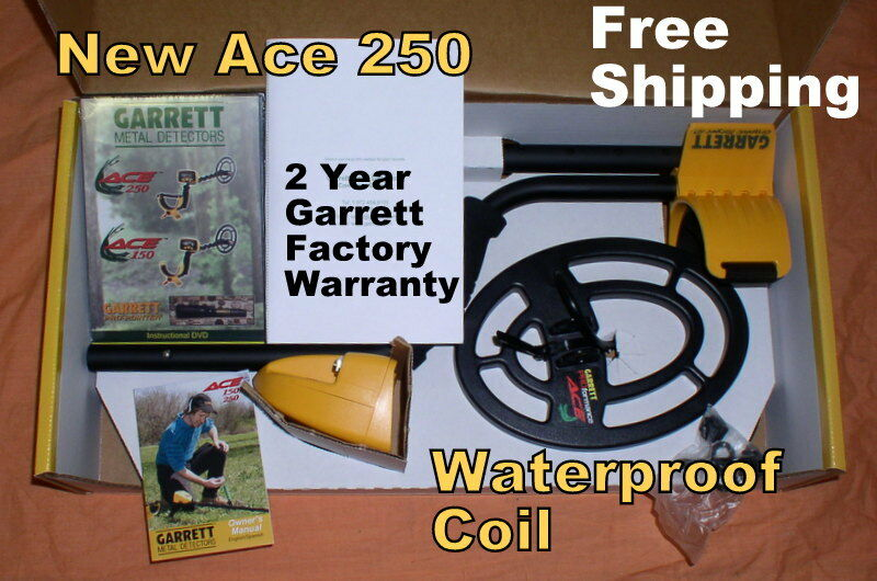 """2018 Garrett Metal Detector Ace 250  with 6.5x9"""" Waterproof Coil * Free Shipping"""