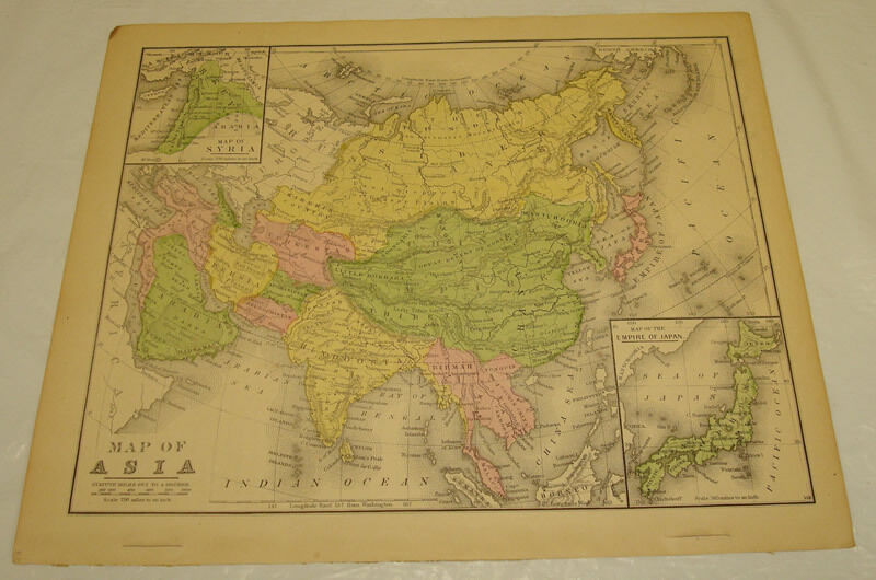 1871 WARREN Antique Map/ASIA/Hand-Colored