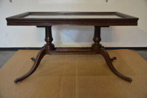 Antique Duncan Phyfe Coffee Table with Glass Tray Top