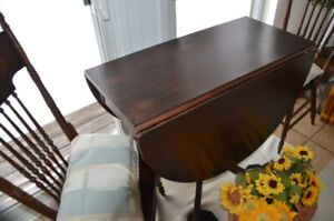 Duncan Phyfe drop leaf table and antique chairs