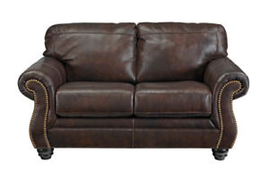 DARLA GENUINE LEATHER LOVE SEAT ..INCL. TAX & DELIVERY