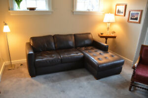 Natuzzi Leather Sectional - Chocolate Brown