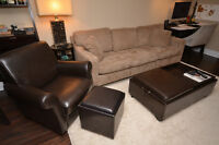 Living Room Set (Couch, Arm chair, Ottomans, End table and lamp)