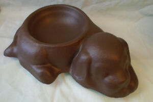 Concrete Puppy with Molded Dog Bowl. Garden/Lawn/Yard Ornament.