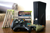 Xbox 360 + 3 controlers + Steering Wheeling + 17 games