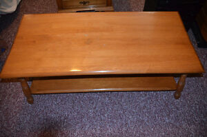 Solid maple coffee table and end table with drawer