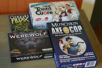 Various card games (Munchkin, Werewolf, Fluxx, and Tanto Cuore)