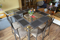 GLASS PUB STYLE TABLE WITH 8 METAL CHAIRS