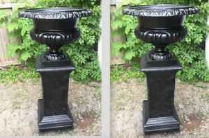 "51"" Stunning Wide Mouth Trophy Cast Iron Urns with Pedestals"