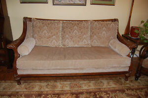 Beautiful hand carved and upholstered couches