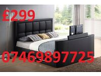 *DOUBLE TV LEATHER BED FRAME - BLACK- BROWN- £299 WAS £799