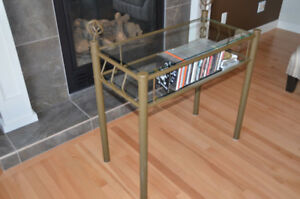Metal Sofa Table w Glass Top & Shelf - Brown