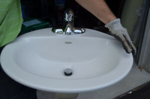 White drop-in Sink (American Standard) + Faucet (Delta Chrome)