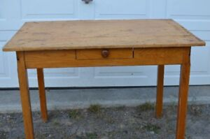 Antique Pine Table/Desk with a Press Back Chair.