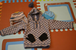 Knitted sweater with hats and mittens (2-3 years)