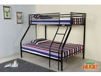TOP SINGLE AND BOTTOM DOUBLE - BRAND NEW TRIO METAL BUNK BED WITH MATTRESSES - SAME DAY DELIVERY