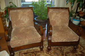 Two Beautiful Hand Carved and Upholstered Chairs