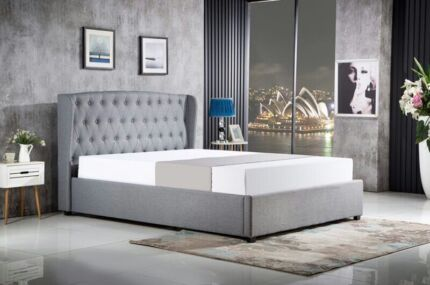 Modern Design Grey Fabric Queen Size Bed Frame