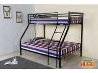 CLASSIC OFFER Alexa Triple Metal Bunk Bed and Mattress - SAME/NEXT DAY DELIVERY