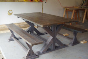 Brand New Trestle Country Dining Table-with Benches