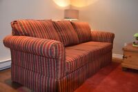 Pristine striped  couch and chair  lounsbury set A steal