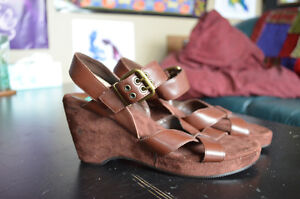 Brown suede thick strap sandal wedges, size 8