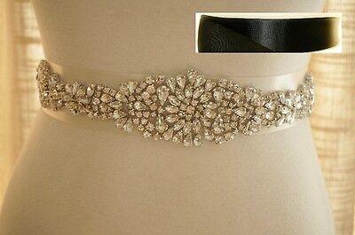 "16.5"" long Wedding Bridal Sash Belt, Crystal Sash Belt = BLACK satin sash"