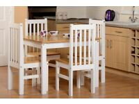 DELIVERING New white and wood small solid dining set with 4 chairs £169 PICS 1-3
