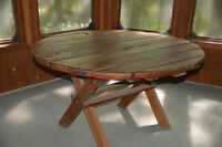 4.ft.round table in cedar
