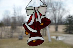 Stained Glass Christmas Bells Sun Catcher