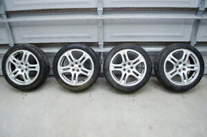 "JDM Subaru WRX 17"" 5x100 wheels + snow tires"