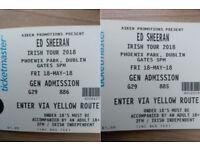 2x Ed Sheeran Concert Tickets, Dublin, May 18
