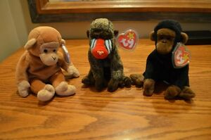 Ty Beanie Babies *Retired & Rare* - Set of 6 Primates