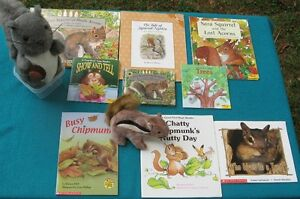 Squirrel and Chipmunk books and 2 stuffies