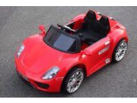 Kids Electric Car Porsche Style 12v Red, Remote, mp3, Real Keys, Led Lights