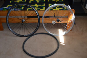 Road bike rims, tires, tube