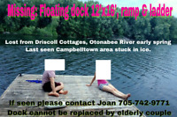 Missing Floating Dock from Otonabee River (Driscoll Cottages)