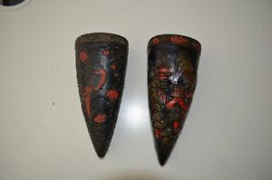 Vintage Japanese wall pocket vases Oriental Pottery Tokanabe