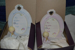 2 Precious Moments Baby Birth info frames (boy and girl)