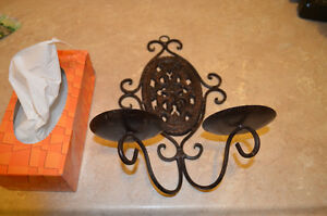 Beautiful indoor or outdoor Cast Iron Wall Candle Sconce