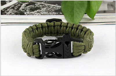 1x Paracord Survival Bracelet Compass Whistle Outdoor Hiking Camping Gear/Kit DS
