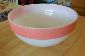 VINTAGE FIREKING MILK GLASS PINK COLONIAL BAND MIXING BOWL